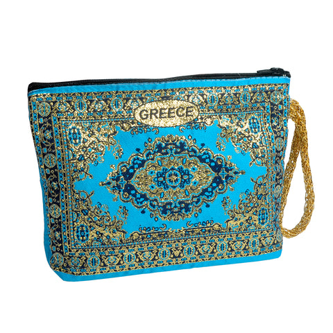 Purse light blue with greece logo 16cm