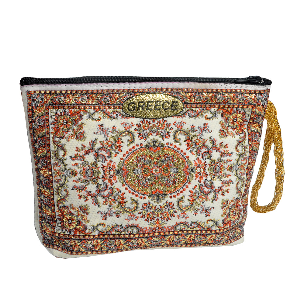 Purse white-red with greece logo 16cm