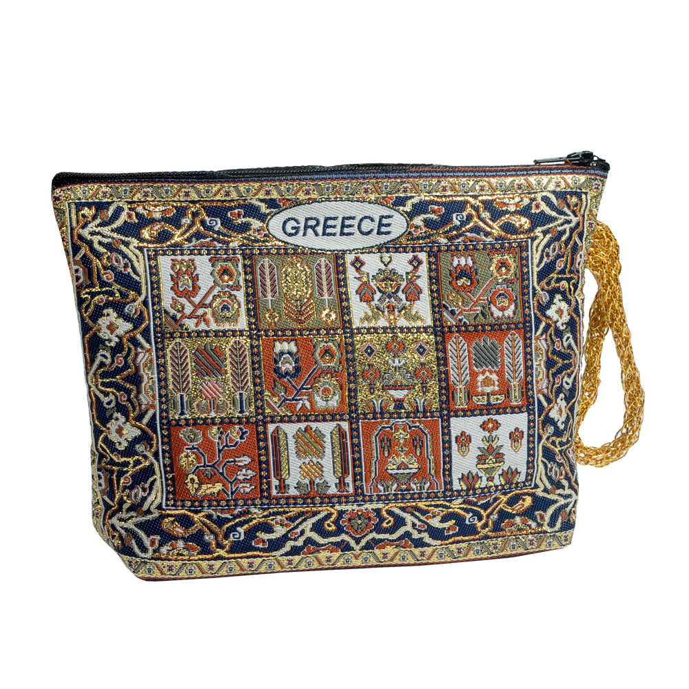 Purse dark blue with pictures and greece logo 16cm