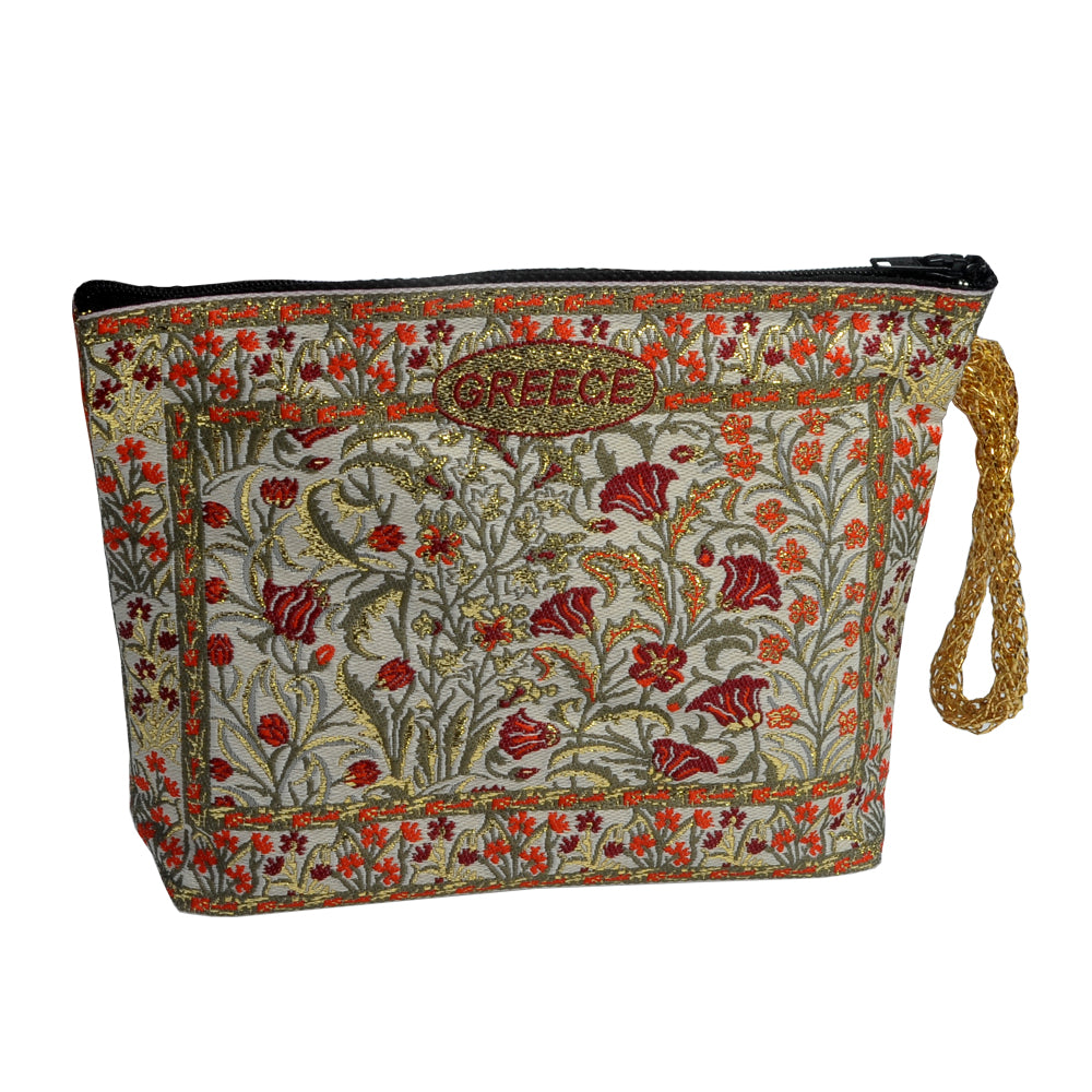 Purse with flowers and greece logo 16cm