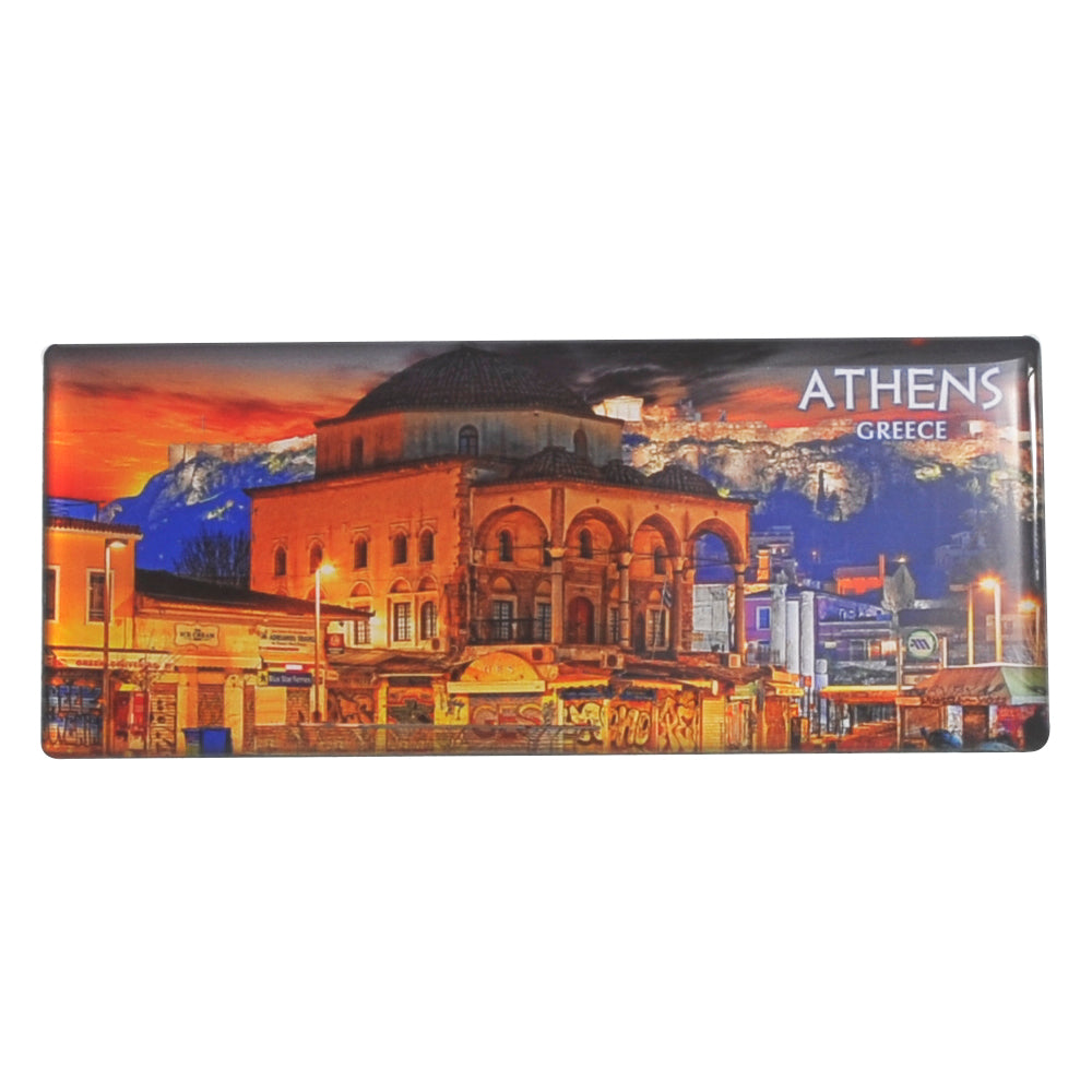 Magnet depicting Monastiraki square and athens-greece logo 8cm