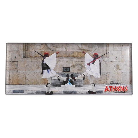 Magnet depicting Evzones soldiers in front of the Greek parliament and athens-greece logo 8cm