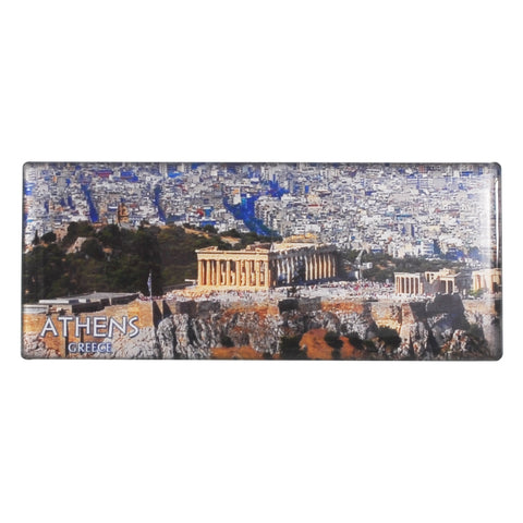 Magnet with Acropolis and athens-greece logo (far view) version 1 - 8cm
