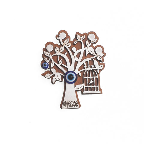 Magnet in tree shape with charm for the evil eye, bird case and greece logo