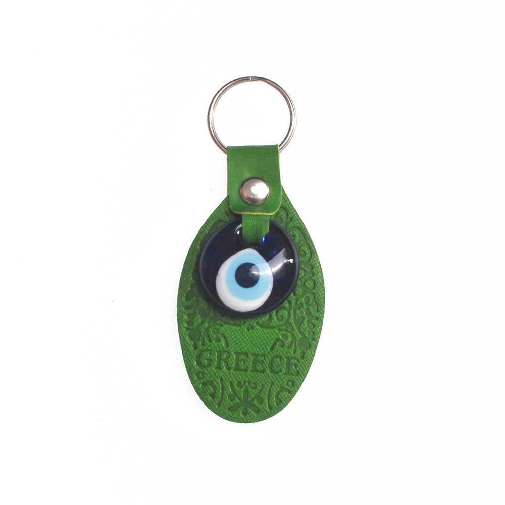 Keychain charm for the evil eye with greece logo (dark green)