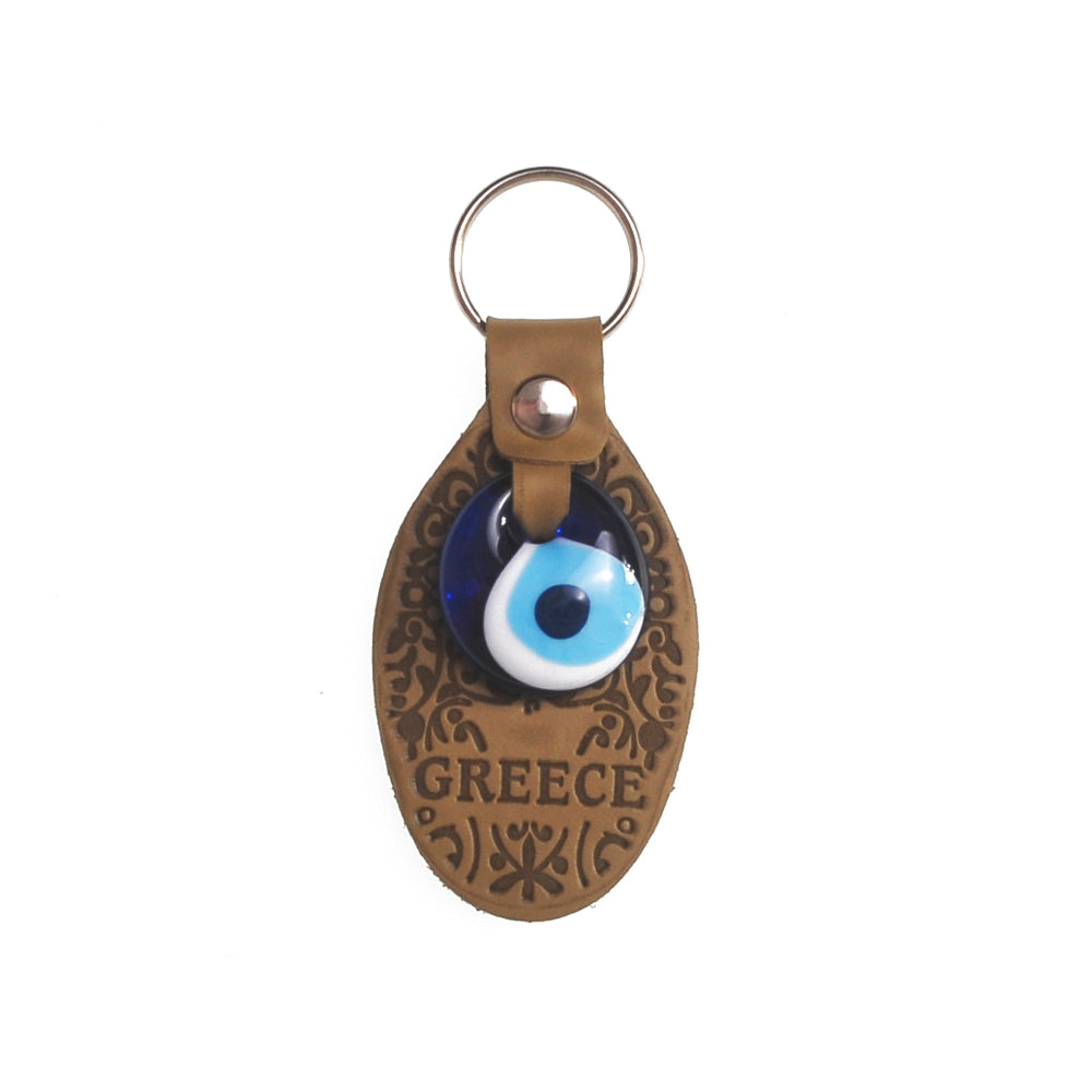Keychain charm for the evil eye with greece logo (brown)