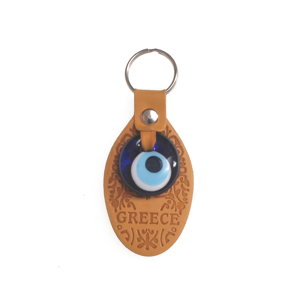 Keychain charm for the evil eye with greece logo (light brown)