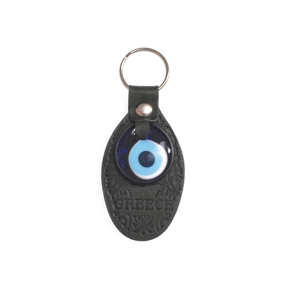 Keychain charm for the evil eye with greece logo (black)