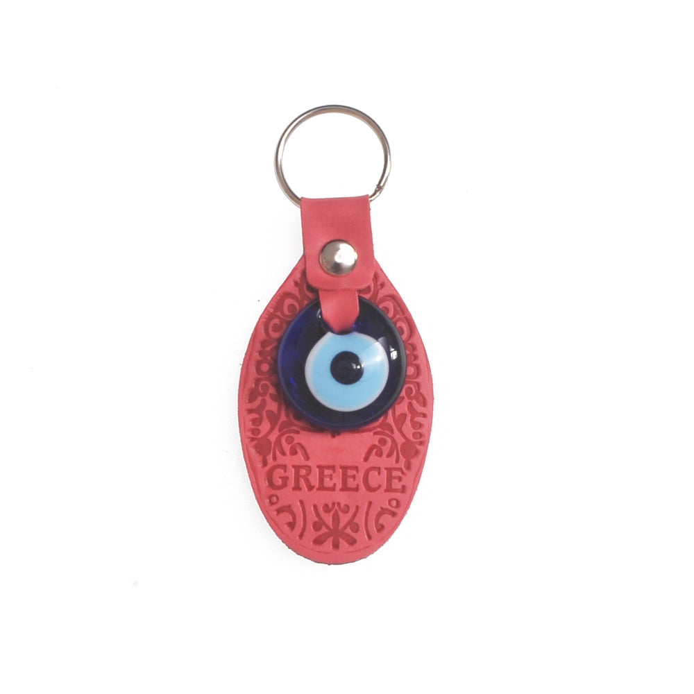 Keychain charm for the evil eye with greece logo (dark pink)