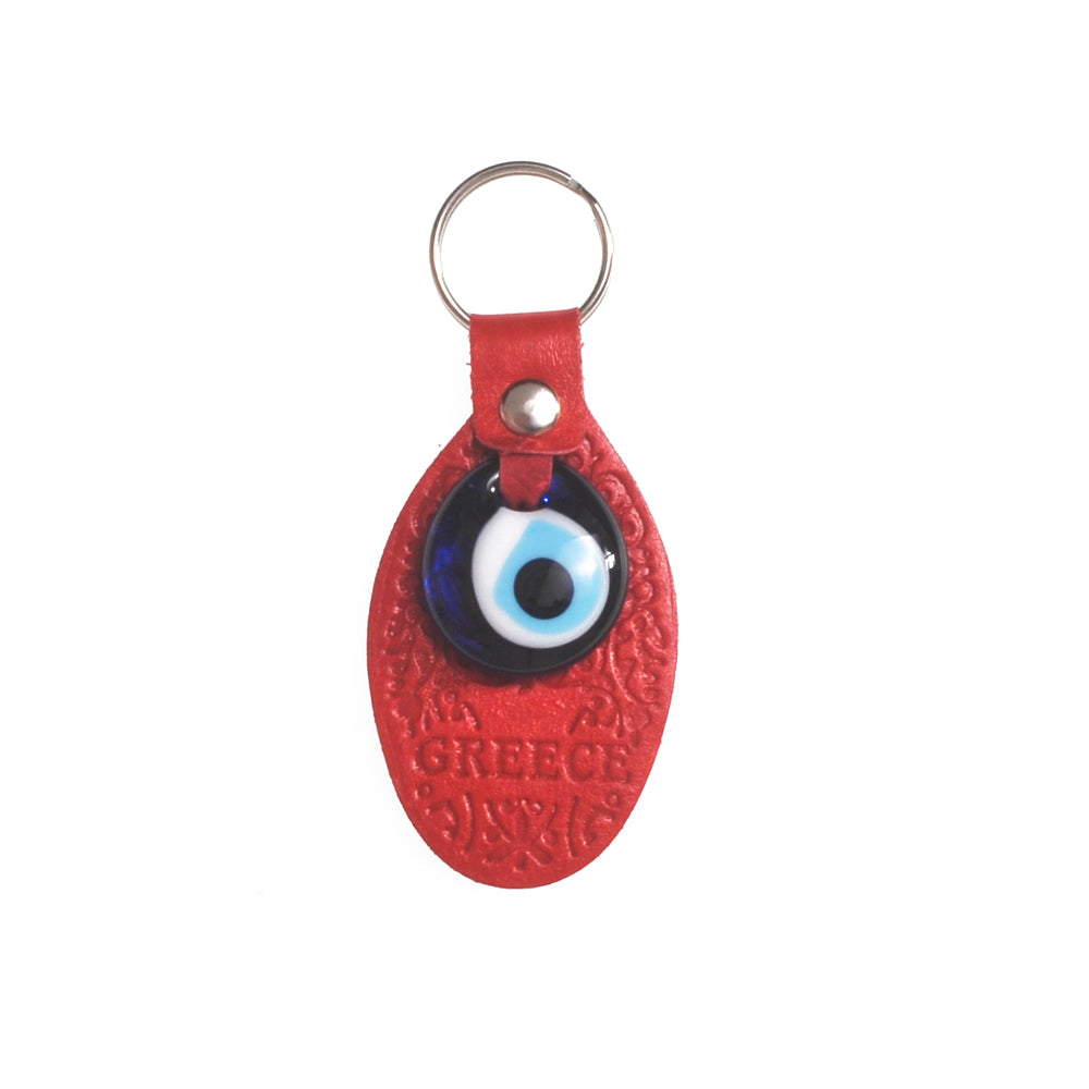 Keychain charm for the evil eye with greece logo (red)