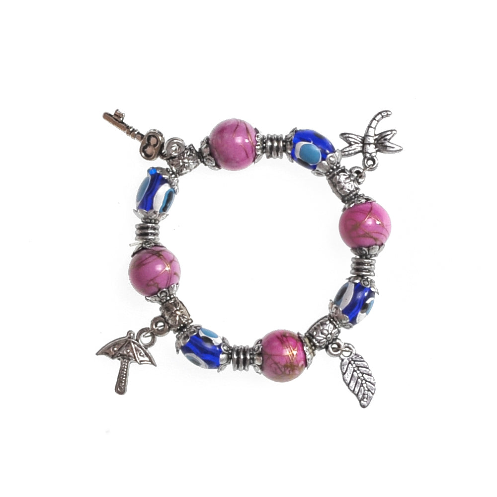 Charms Bracelet purple 7.5cm