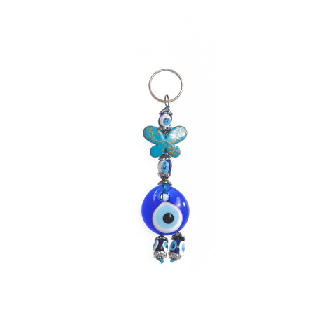 Keychain charm for the evil eye and a butterfly light blue 10cm
