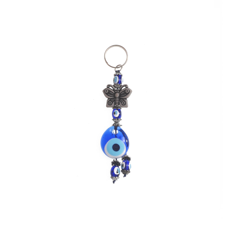 Keychain charm for the evil eye and butterfly dark grey 10cm