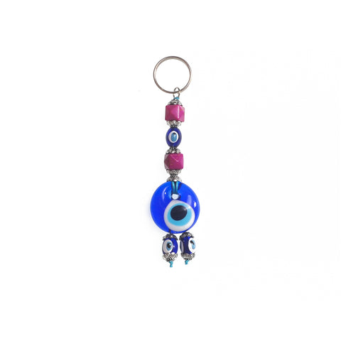 Keychain evil eye dark purple 10cm