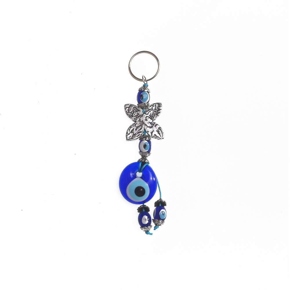Keychain charm for the evil eye and a flower grey 10cm