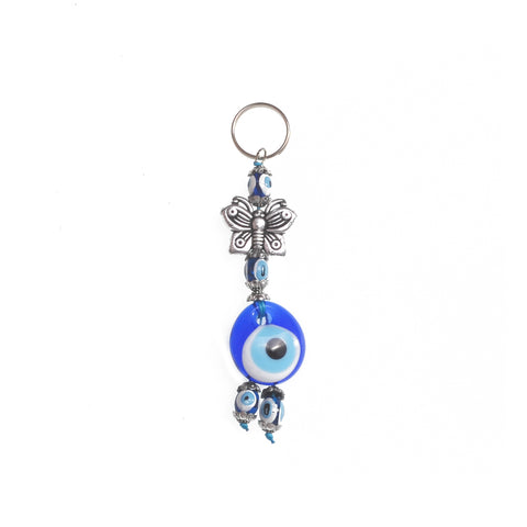 Keychain charm for the evil eye and a butterfly grey 10cm