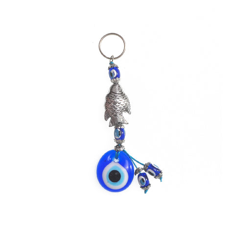 Keychain charm for the evil eye and a fish grey 10cm