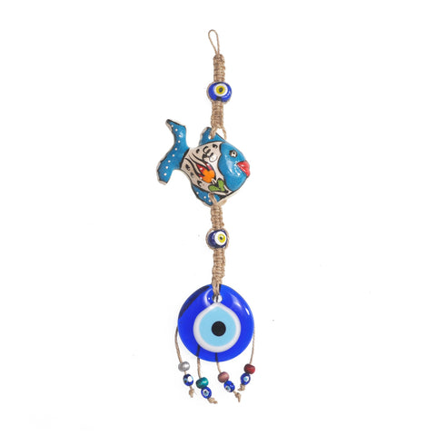 Keychain charm for the evil eye and a fish white - orange - green 10cm