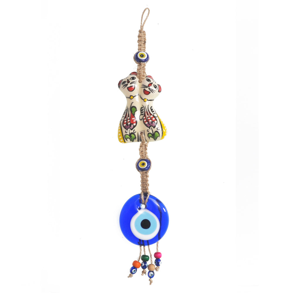 Keychain charm for the evil eye white - red - yellow 10cm