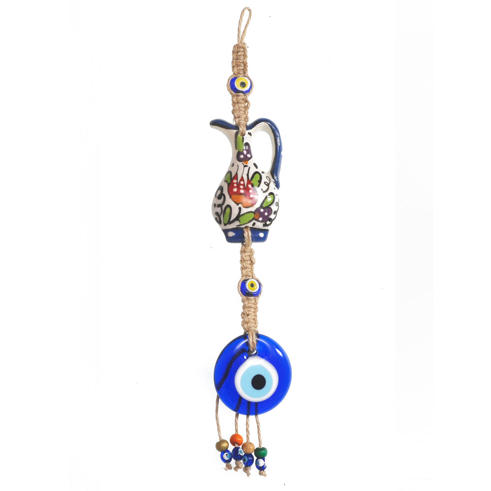 Keychain charm for the evil eye white - red - green 10cm