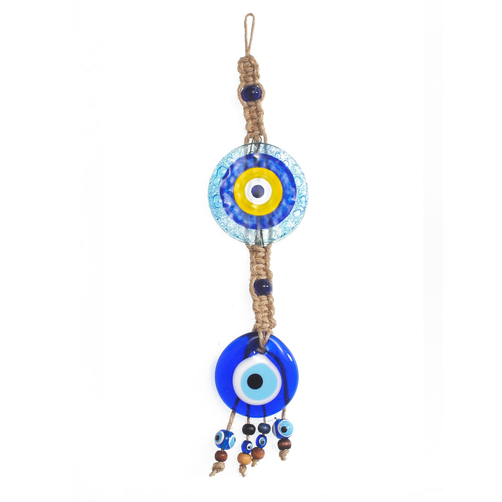 Keychain charm for the evil eye light blue - yellow 10cm