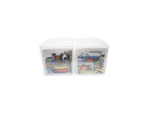 Ceramic Salt & Pepper island 3cm white
