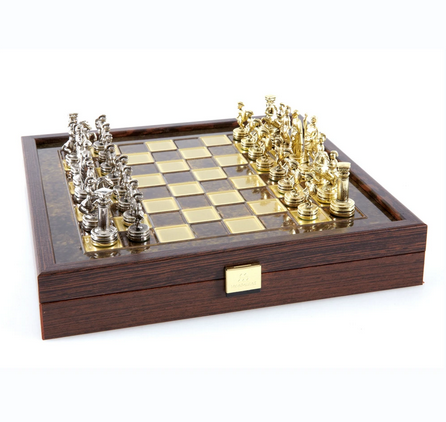 Chess set greek roman period in wooden box with storage 27cm