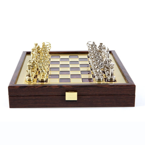 Chess set archers in wooden case with storage 28cm