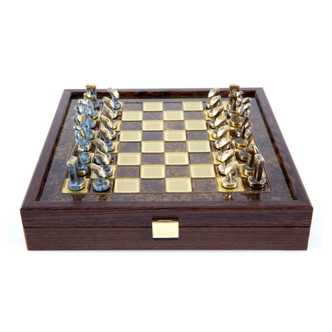 Chess set Cycladic art in wooden box with storage 27cm