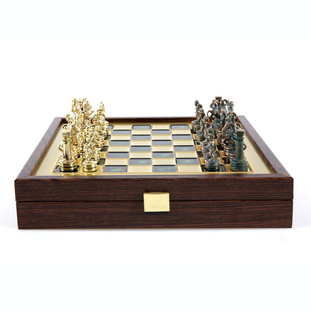Chess set greek roman period in wooden box with storage (small)