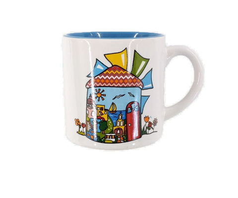 Espresso mug windmill 7cm White- Blue
