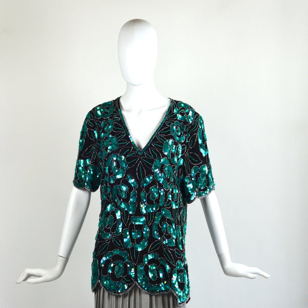 Vintage Green & Black Sequined Blouse