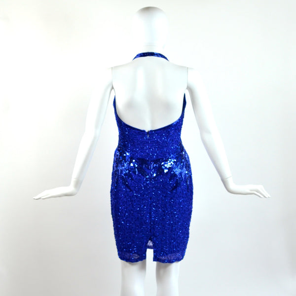 Vintage Blue Sequin Halter Dress