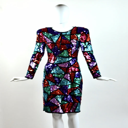 Vintage 80's Multicolor Sequin Dress
