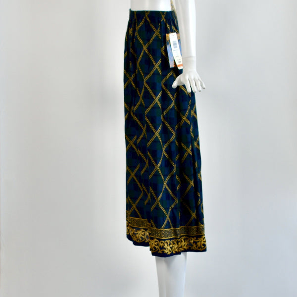 Vintage Chain Plaid & Pleated Skirt