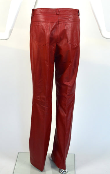 Vintage Red Leather Moto Pants