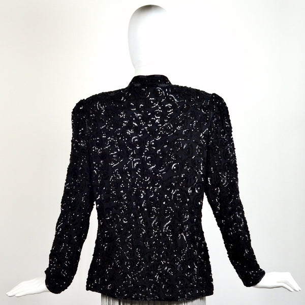 Vintage Black Sequin Jacket