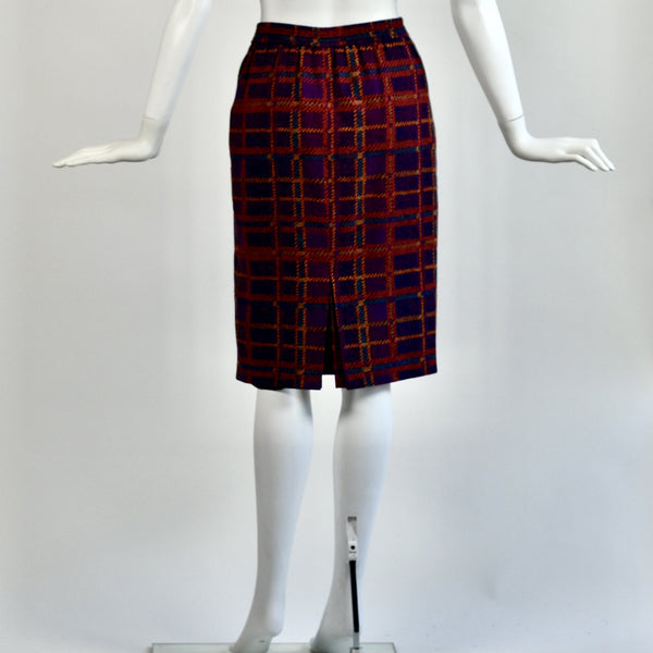 Vintage Purple/Red Plaid Silk Skirt