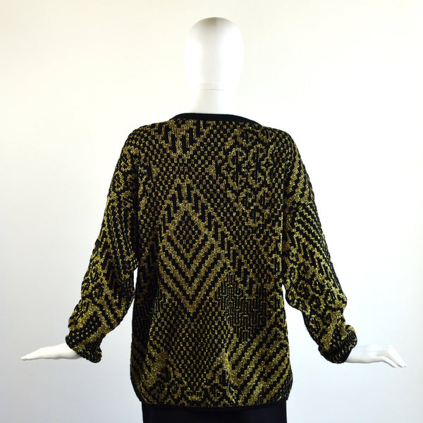 VINTAGE 80'S BLACK AND GOLD SWEATER