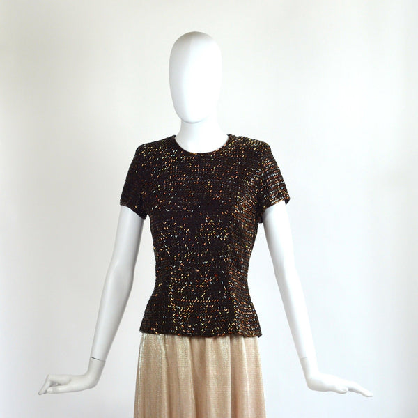 VINTAGE BROWN BEADED TOP