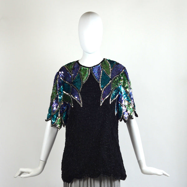 VINTAGE 70'S FEATHER SEQUIN BLOUSE