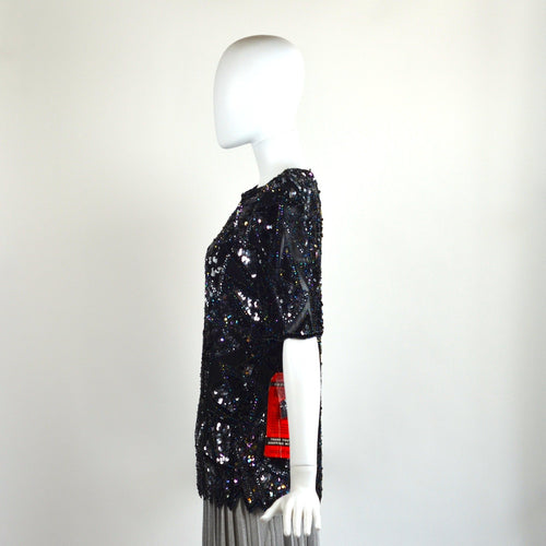 VINTAGE TRIANGULAR SEQUIN BLOUSE