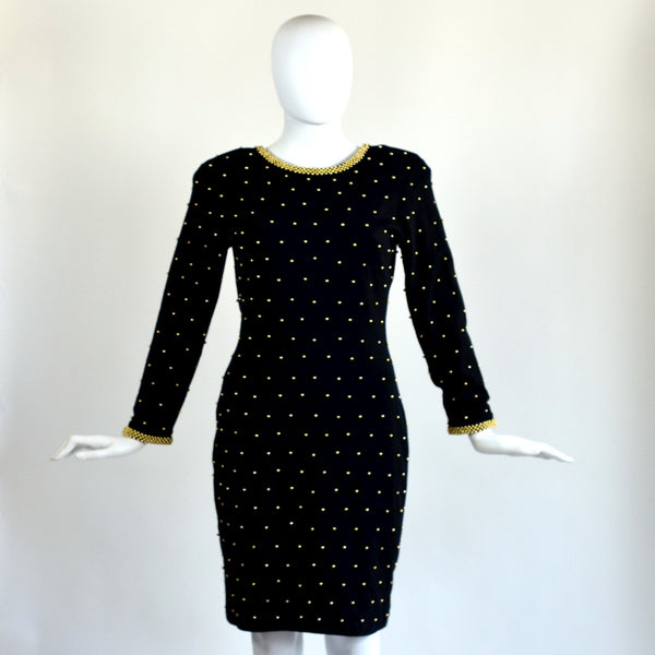 Vintage Black & Gold Beaded Dress