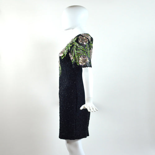 Vintage Pink & Green Floral Sequin Dress