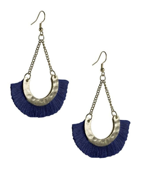 Navy Open Fan Earrings