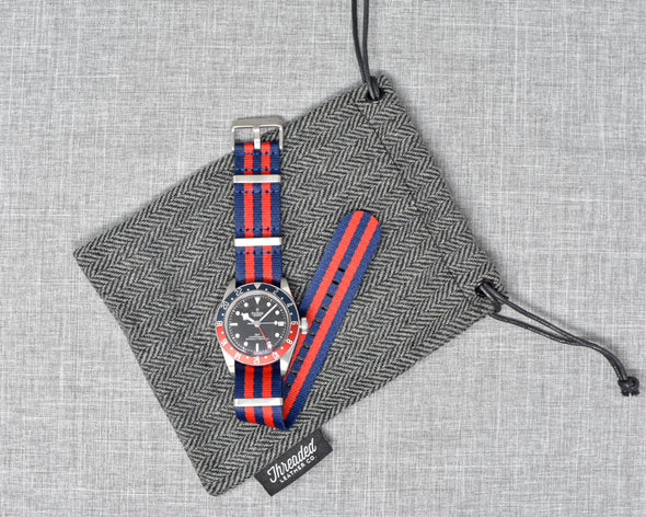 The Henry Premium NATO Style Watch Strap | Navy & Red