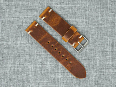 Horween English Tan Dublin | Natural Thread - The Hudson Strap
