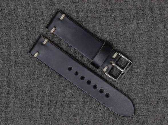 Horween Black Chromexcel | Natural Thread - The Hudson Strap