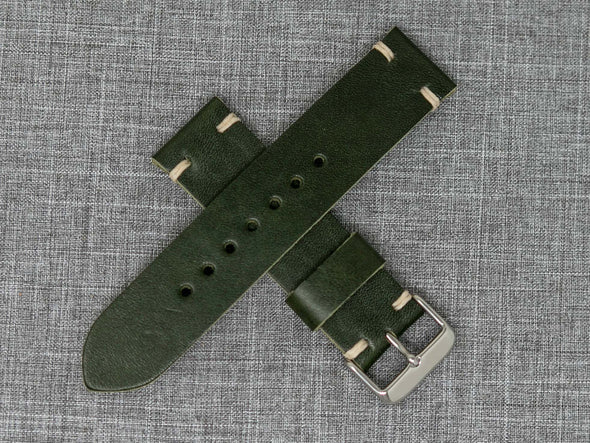 Horween Forest Green Cavalier | Natural Thread - The Hudson Strap