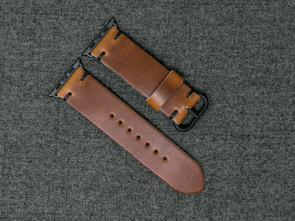Horween Whiskey Cavalier | Black Thread - The Hudson Strap for Apple Watch